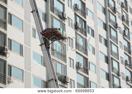 Ladder Truck For Moving At Apartment In Korea