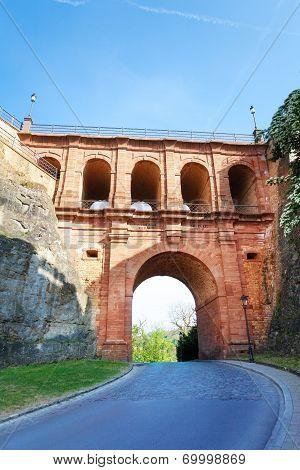 Close view of Schloss Erbaut Bruecke, Luxembourg