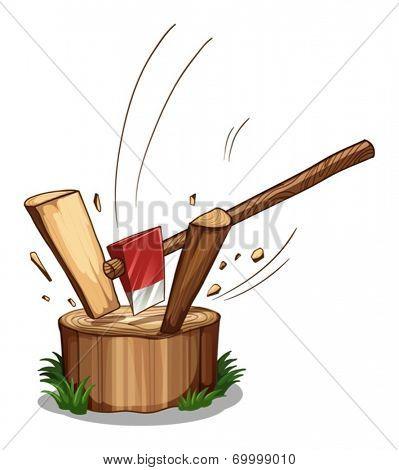 Illustration of a chopping log