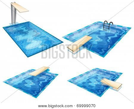 Illustration of the set of pools on a white background