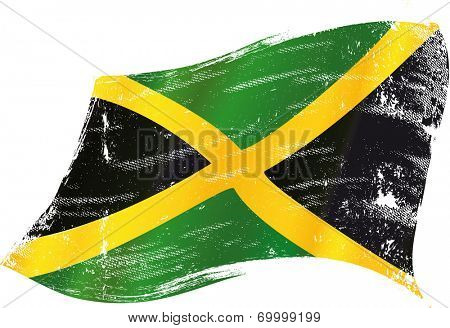 waving jamaican grunge flag. A waving flag of Jamaica with a grunge texture
