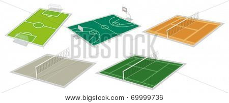 Illustration of the set of courts on a white background