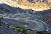 stock photo of aconcagua  - Paso de los Libertadores Winding Road at 3000 meters between Argentina and Chile.