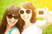 foto of two women taking cell phone  - Selfie - JPG