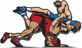 stock photo of wrestling  - Vector Illustration of two guys in a fierce wrestling competition - JPG