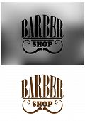 picture of barber  - Gray and brown retro barber shop icon - JPG