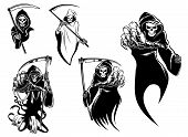 stock photo of scythe  - Death skeleton characters with and without scythe - JPG