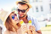 foto of gelato  - A picture of a lovely couple eating ice - JPG