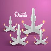 stock photo of ganpati  - Vector Paper Sculpture of Diwali Diya  - JPG