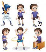 picture of hulahoop  - Illustration of the different activities of a young boy on a white background - JPG