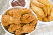 stock photo of southern fried chicken  - Fried Hot Chicken Wings  - JPG