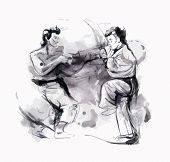 picture of karate  - An hand drawn converted vector in calligraphic style from series Martial Arts - JPG