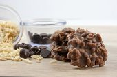 stock photo of crispy rice  - Chocolate and crispy rice no bake cookies - JPG