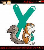 stock photo of letter x  - Cartoon Illustration of Capital Letter X from Alphabet with Xerus Animal for Children Education - JPG