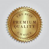 foto of gold medal  - Vector round gold badge with premium quality and best choice text - JPG