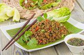 foto of crispy rice  - Larb  - JPG