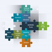 stock photo of puzzle  - Puzzle pieces with business plan design - JPG