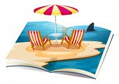 picture of pop up book  - Illustration of a pop up book of beach - JPG