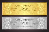 pic of coupon  - Exclusive golden and silver gift coupon with pattern in vintage style - JPG