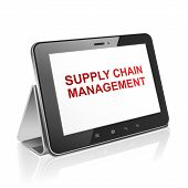 stock photo of supply chain  - tablet computer with supply chain management on display over white - JPG