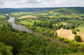 stock photo of domme  - View over the Dordogne river area as seen from the city of Domme