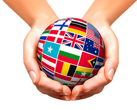 picture of flags world  - Flags of the world in globe and hands - JPG