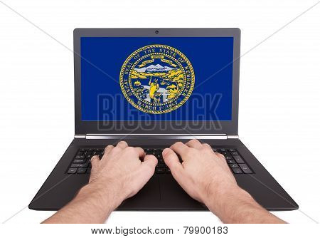 Hands Working On Laptop, Nebraska