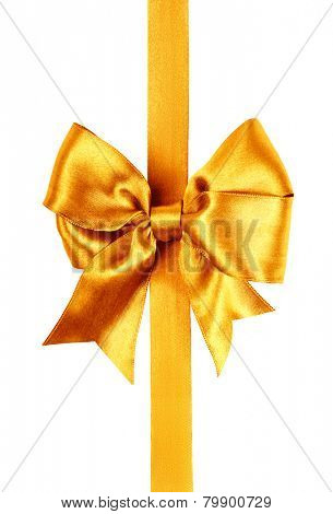 golden bow photo made from silk isolated