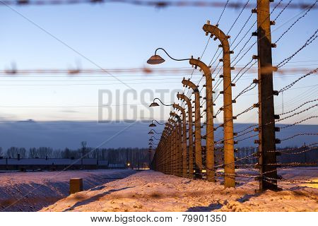 Fence Around Concentration Camp Of Auschwitz Birkenau, Poland