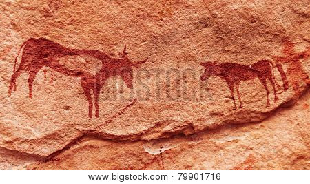 Ancient rock paintings in Sahara Desert, Tadrart, Algeria