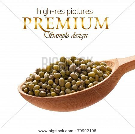 Mung beans in a wooden spoon