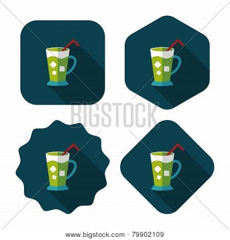 Iced Drink Flat Icon With Long Shadow,eps10