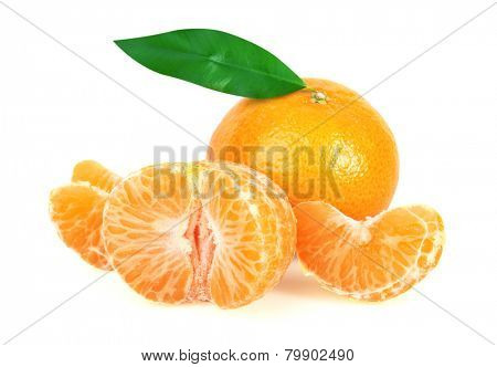 Tangerine or Mandarin Fruit with leaf, isolated on white background