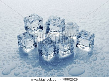 Ice cubes with water drops, close-up