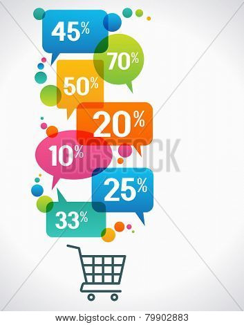 Shopping cart with percent discounts. Flat modern design.  concept of sales. The file is saved in the version AI10 EPS. This image contains transparency.