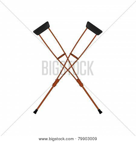 Two crossed retro crutches