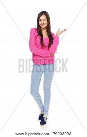 Casual woman showing blank copy space