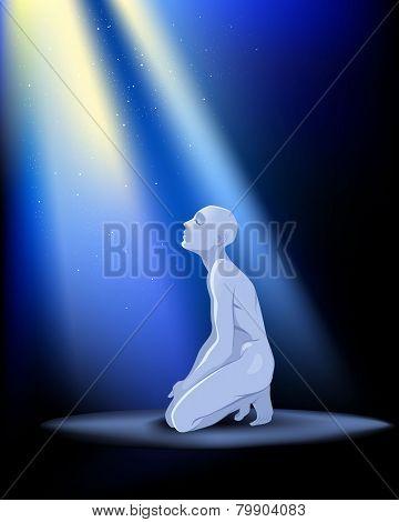 Praying Man On Knees