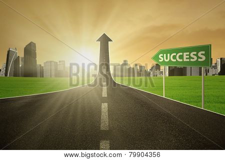 Highway With A Success Signpost