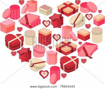 Stylized pink heart made of hearts