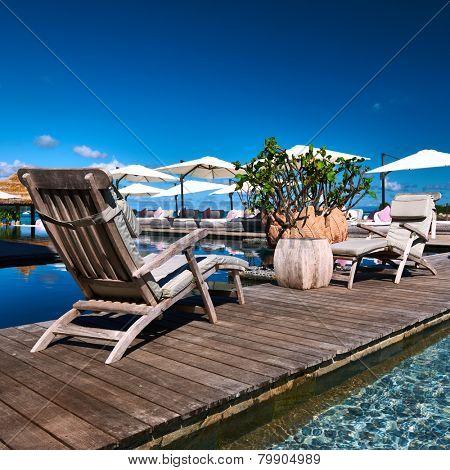 Luxury poolside jetty at Seychelles