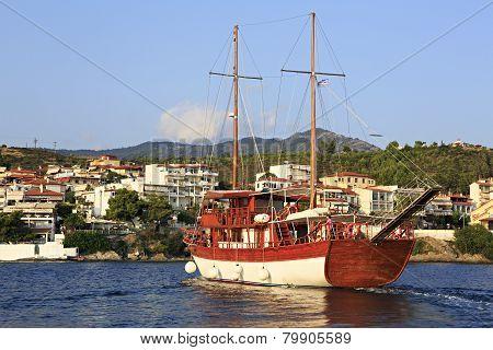 Pleasure yacht in the Aegean Sea.