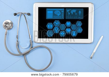 Medical Tablet With Stethoscope