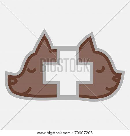 Veterinary cross and pets logo isolated
