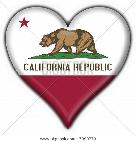 California (usa State) Button Flag Heart Shape