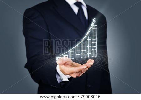 Businessman with a rising chart in wireframe mode