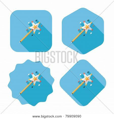 Magic Wand Flat Icon With Long Shadow,eps10