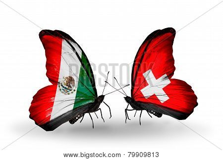 Two Butterflies With Flags On Wings As Symbol Of Relations Mexico And Switzerland