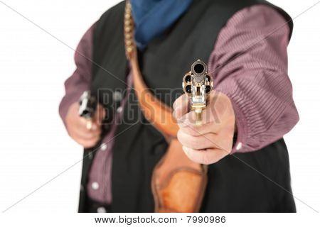 Closeup Of Pistol Aimed At Camera