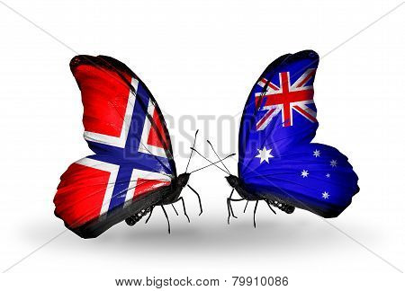 Two Butterflies With Flags On Wings As Symbol Of Relations Norway And  Australia